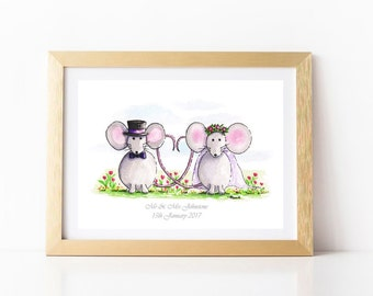 Wedding art Print Watercolour Mr and Mrs gift Personalised wedding gifts Mice wedding present Mouse art card