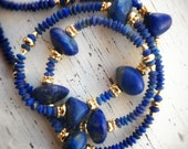 Custom order for V and P - Necklace ~ Deep blue matte Afghan quality lapis 24K gold vermeil & 24K plate over brass ~ Egyptian style