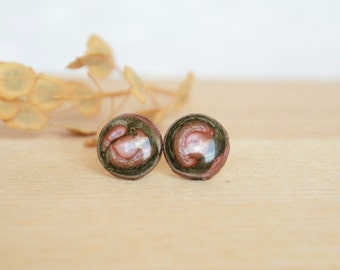 Wooden studs, hand painted wood stud earrings, ecofriendly jewelry made from twig, black and pink silver ear studs