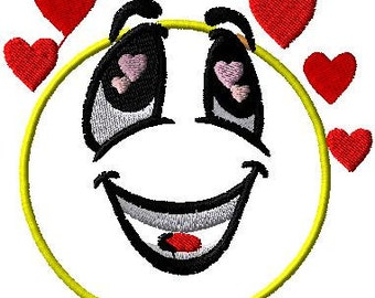 Smiley iron on patch Smiley sew  on applique Love Smiley Smiley with hearts Iron on patches Smiley applique Smiley patch
