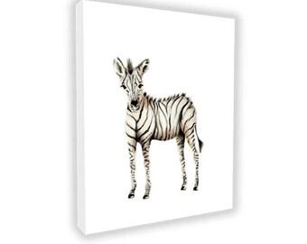 CANVAS Nursery Art, Zebra, Safari Print, Gender Neutral Baby, Animal, Jungle, Painting, Kids Art, Childrens Wall Decor, Giclee, Toddler