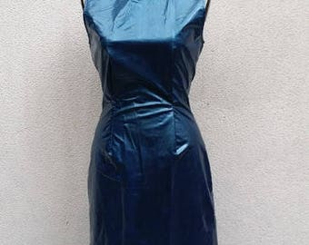 90's  JOSEPH Body-Conscious Dress, close-fitting, sleeveless, vinyl, petroleum blue color, brilliant and vibrant, Latex spirit, Matrix ...