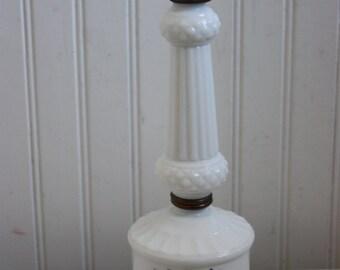 Milkglass Accent Lamp, Bedroom White Milkglass Lamp, Dresser Milkglass Lamp, Blue Flowers, Mid Century Lamp, Blue and White Accent Lamp