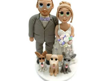 Custom Wedding Cake Topper with 3 Small Dogs