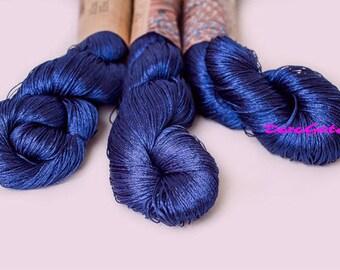 Viscose silk yarn, rayon yarn, Summer yarn sparkle,  Blue yarn, glitter, shining, Superfine, Lace weight, crochet yarn