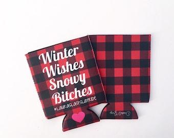 Winter Wishes Buffalo Plaid Bachelorette/Wedding Beverage Insulator/Hugger