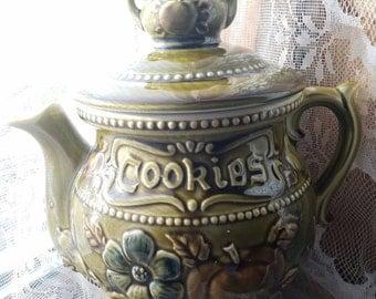 Vintage Teapot Cookie Jar, Teapot Shaped Cookie Jar, Green Double Teapot Cookie Jar, Made in Japan, teapot handle