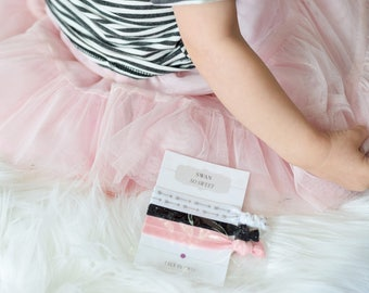 Swan Party Favors for Girls, Swan Birthday Party Supplies, Swan Princess Girls Birthday Party Favors, Black and Pink Custom Hair Tie Favors