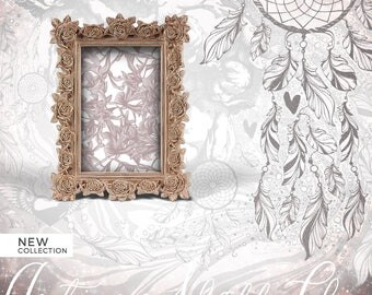 Shabby Chic Copper Photo Frame, Coppery Gold Roses Baroque Frame, Gold Glints Camel Frame, Golden Gleams Mastic Frame, Copper Reflection