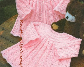 Baby Knitting Pattern pdf Dress and Matinee Coat Double Knit or 4 ply