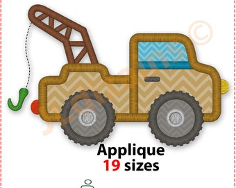 Tow Truck Applique Design. Tow truck embroidery design. Towing truck applique. Towing truck embroidery design. Machine embroidery design