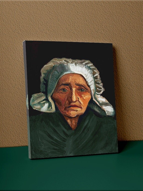 Head of an Old Peasant Woman with White Cap | Vincent van Gohn Mirror Wrap Canvas