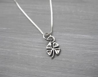 Tiny Four Leaf Clover Necklace Sterling Silver Key Necklace Four Leaf Clover Charm Tween Gift Teen Gift Layering Necklace Lucky Necklace