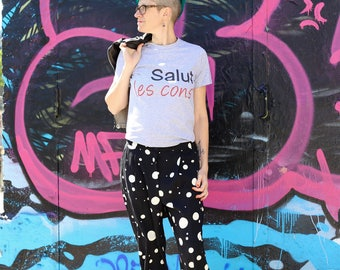 T-shirt Salut les cons (hello stupid) french message fashion men or women by decartonetdetoiles