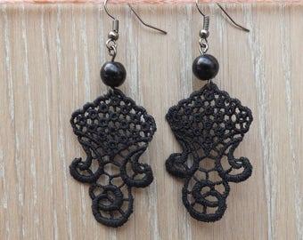 """Black chandelier lace Earrings """"Queen""""  - boho earrings - chandelier earrings - unique jewelry"""