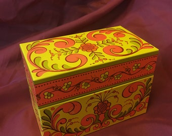 Vintage Avon Recipe Card Box Mod Floral Paisley Design 70s Kitchen Decor Pretty Orange Yellow Metal Storage Retro Unique Cooking Gift Idea