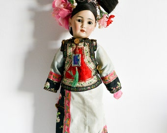 Rare Antique-Collectible Doll-Asian Costume with Stand-1329-Germany-Porcelain Antique Simon and Halbig-Bisque German Oriental Doll
