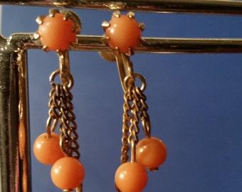 Vintage earrings Screw back earrings vintage screw back earrings 1920's earrings peach earrings vintage jewelry antique earrings
