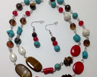 Long Necklace, Southwest, Turquoise Blue Green, Red, Brown, White, Red Coral, Tiger Eye, Magnesite, Acrylic, Necklace, Earrings