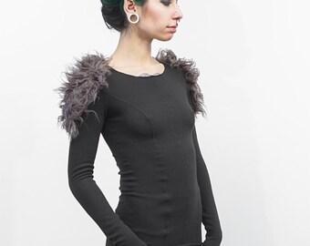 Helge faux fur detail fitted sweater, in ash, women's