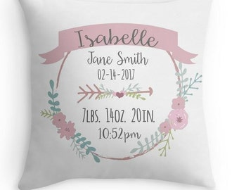 Birth Announcement Pillow - Personalized Baby Pillow - Baby Gift - Girl Nursery Decor - Purple