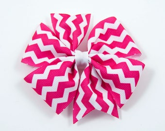 Hot Pink Chevron Hair Bow, Hot Pink and White Hair Bow, Hot Pink Hair Bow, Chevron Hair Bow, Hot Pink Bow, Chevron Bow (Item #10394)