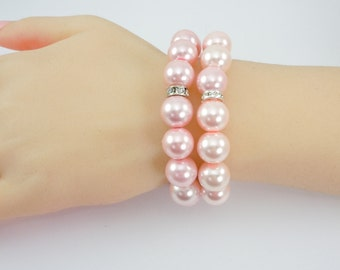 Bridal Stretch Bracelet Set, Two Bracelets, Glass Pearls, Stretch Bracelets, Blush/Pink, Swarovski Crystal Spacers, 12 mm Pearls