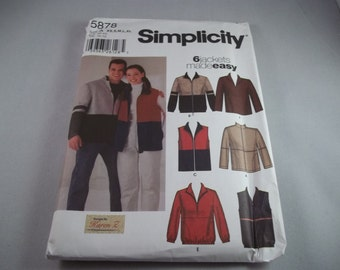 Uncut 2002 Simplicity 5878 XS S M L XL, 6 Jackets Made Easy, Jackets and Vest Pattern