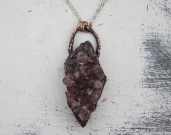 Long Electroformed Raw Amethyst Crystal Witchy Gypsy Boho Necklace/Pendant Copper Earthy