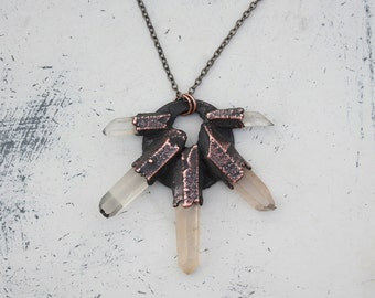 Raw Electroformed Quartz Crystal Spike Rustic Organic Layering Necklace/Pendant in Earthy Copper