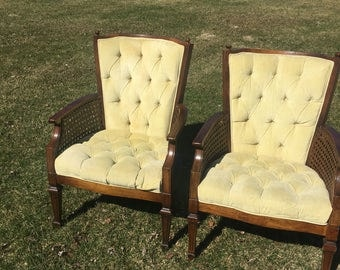 2 Vintage tufted cane chairs