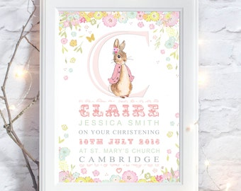 Personalised Peter Rabbit Christening New Birth Birthday Gift Present Baby Girls. Nursery Wall Art Print Picture. UNFRAMED