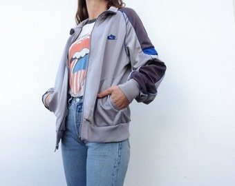 Nike Swoosh | Vintage | 1980s | Tracksuit jacket | Gray/blue | Shiny | Gray/blue | Blue label |Size L
