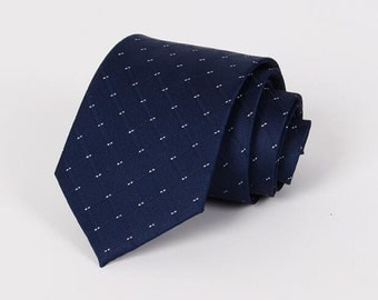 Navy And Silver Square Patterned Ties.Navy Tie for Men.Business Tie.GIft for Him.