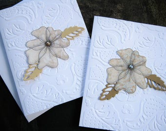 Floral Note Card Set, Thank you, Thinking of you, Embossed Note Cards, gift ideas for her, Teachers, Friends, pearl embellished flowers
