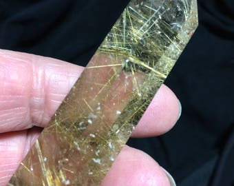 Gorgeous AAA Quality Rutilated Crystal Clear Quartz Wand Poished Point
