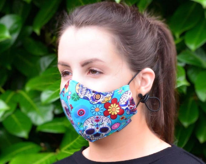 MASKERAID Candy Skulls Reusable Cotton Face Mask
