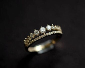 Gold Vermeil Princess Crown Ring with CZ stones, Bright and Sparkly,promise ring,gold ring,Valentine's Day