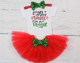 baby girl christmas outfit christmas tutu outfit christmas dress toddler girl christmas outfit dont get your tinsel in a tangle outfit girls