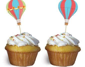 12/ Hot Air Balloon Party Picks  / Cupcake picks / food party picks / Hot air balloon Party theme
