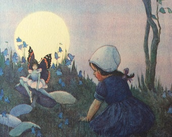 1920-illustration-Fairies-Fairy Land-Little Girl-Butterfly-Nursery-Home decor-Matted-Ready to frame