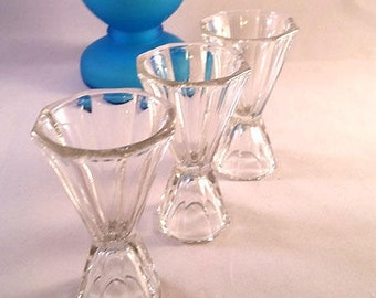 RESERVED CATHERINE....Pinched Octagon Shot Glasses Set of 3