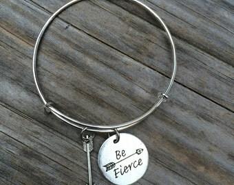 Be Fierce bracelet, Arrow Bracelet, Quote Bracelet, Charm Bangle, Charm bracelet, Inspirational Bracelet