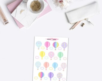 Hot Air Balloons Planner Stickers