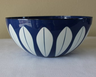 Vintage Cobalt Blue Catherineholm Bowl, Catherine Holm Blue Lotus Bowl, Catherineholm Norway Cobalt Enamel Bowl