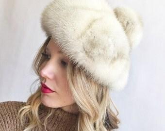 Vintage Blonde Mink Fur Pom Pom Beret Hat