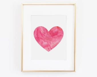 Heart Print, Heart Art, Love Art, Desk Accessories, Office Wall Art, Watercolor Print, Kids Room, Pink Heart, Heart Wall Art, Girls Room