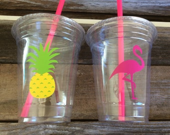 Tropical Party Cups - Flamingo Cups, Pineapple Cups, Luau Party, Summer Party