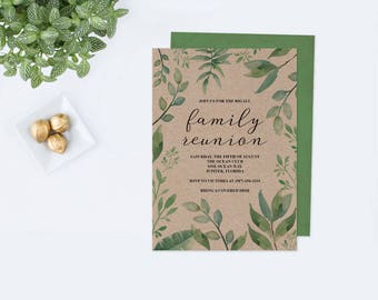 Family Reunion Invitations, Family Reunion Invite Template, Editable PDF,  Greenery Party Invite,  Invitations For Family Reunion