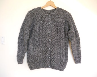 Hand Knit Aran Dark Grey Tweed Ladies Cardigan / jacket